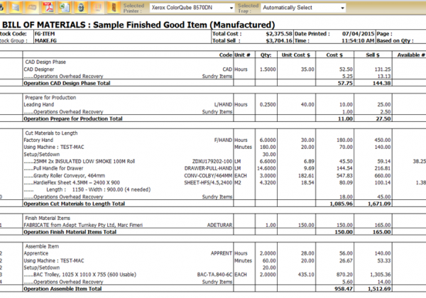 Manufacturing Bill of Materials
