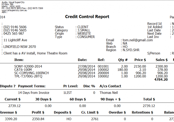 Debtors – Credit Control Report