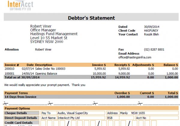Debtors – Debtors Statement
