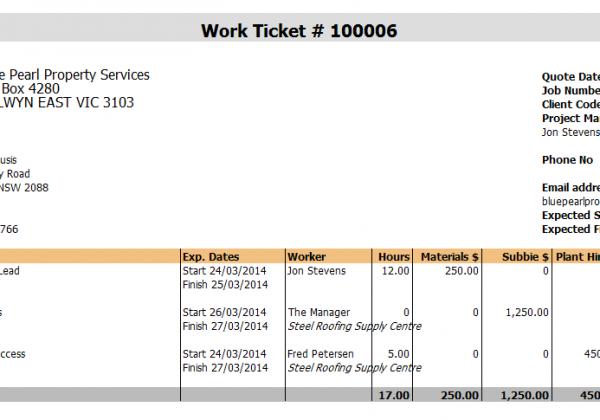 Repairs – Work Ticket