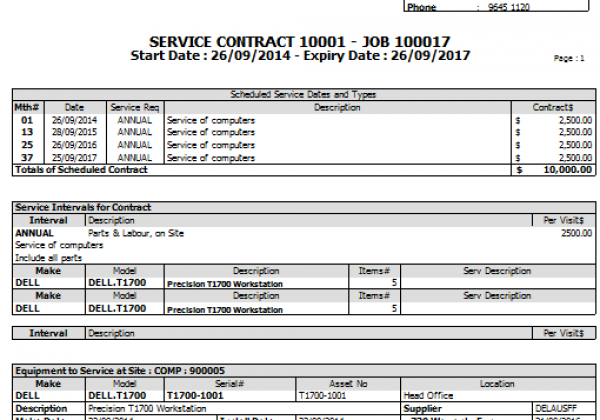 Service Maintenance Software Contract