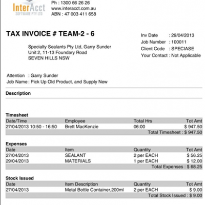 InterAcct Remote Solutions – Client Invoice
