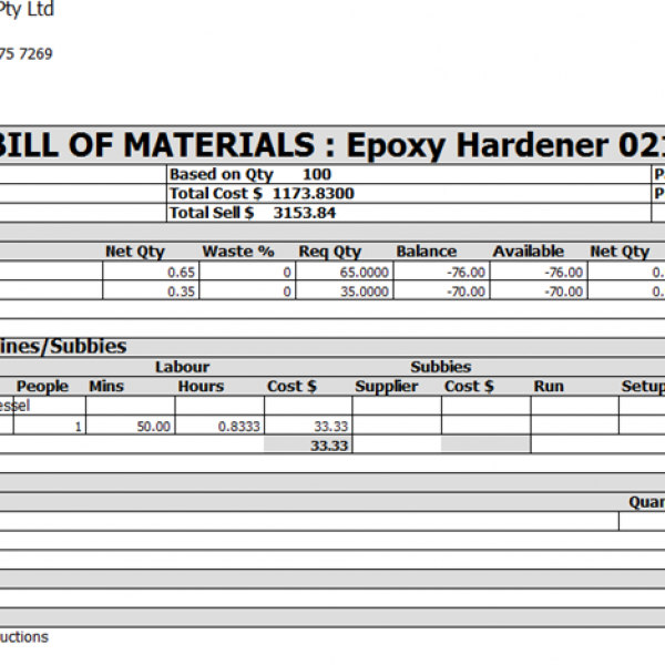 Chemical / Paints / Ink – Bill of Materials